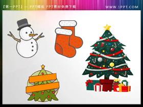 圣诞袜圣诞树雪人PPT素材