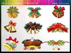 一组圣诞铃铛PPT素材