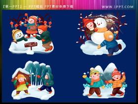 四张卡通堆雪人打雪仗PPT素材