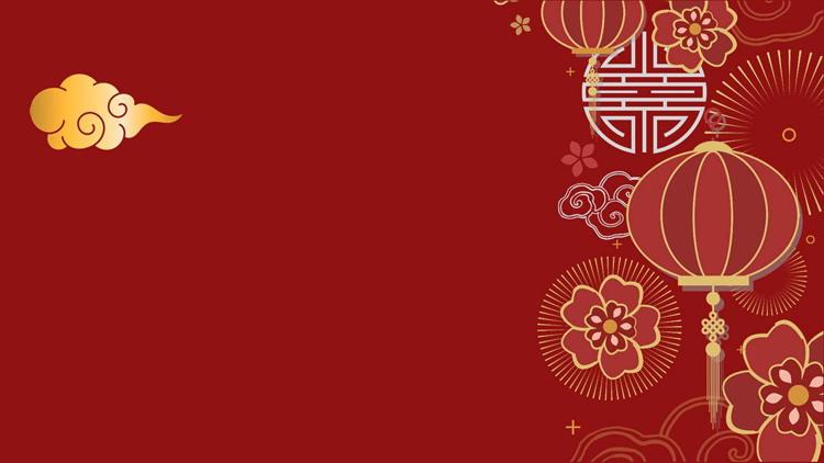 精致古典灯笼花卉新年PPT背景图片