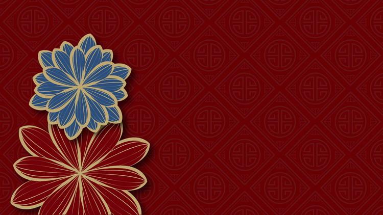 6张红蓝配色的古典花朵图案PPT背景图片
