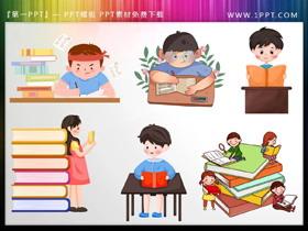 6张卡通学生学习PPT插图素材