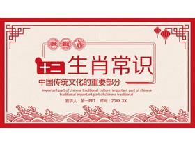 红色剪纸风的十二生肖介绍PPT
