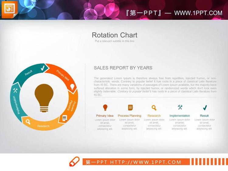 四张五数据项循环关系PPT图表