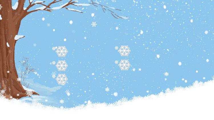 四张卡通冬天雪景PPT背景图片
