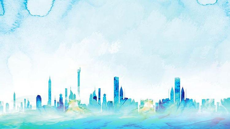 四张蓝色城市剪影PPT背景图片