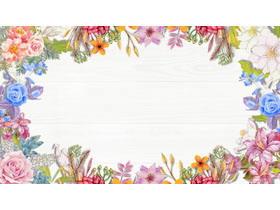 6张精致木纹与水彩花卉PPT背景图片