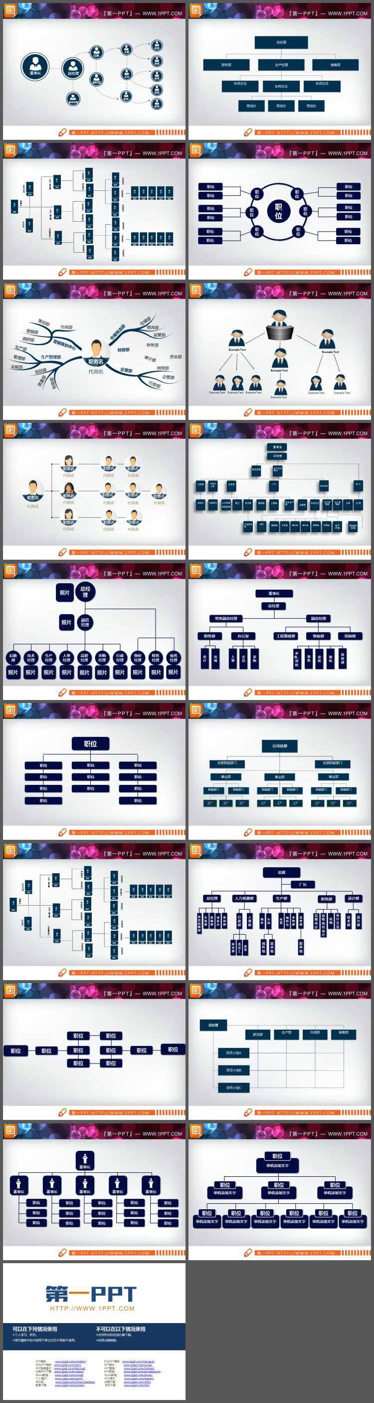 18张蓝色组织结构图PPT图表