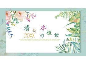 清新水彩植物叶子背景植物相册PPT模板
