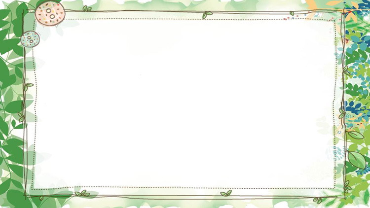 四��清新�G色植物�~子PPT背景�D片