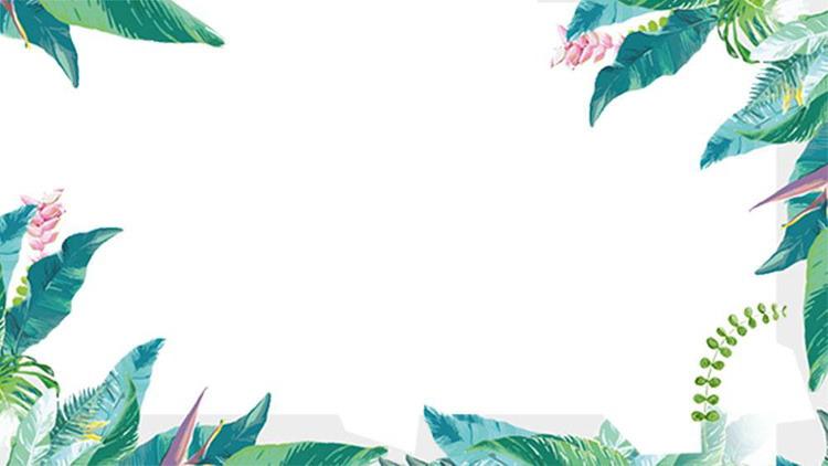 ����G色水彩��~植物PPT背景�D片
