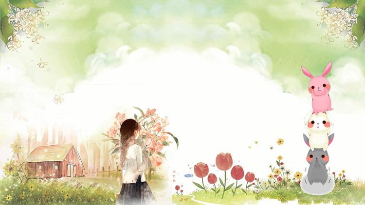 清新卡通水彩木屋女孩PPT背景�D片