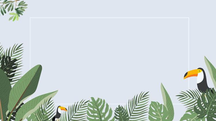 四��卡通大嘴�B��~植物�~子PPT背景�D片