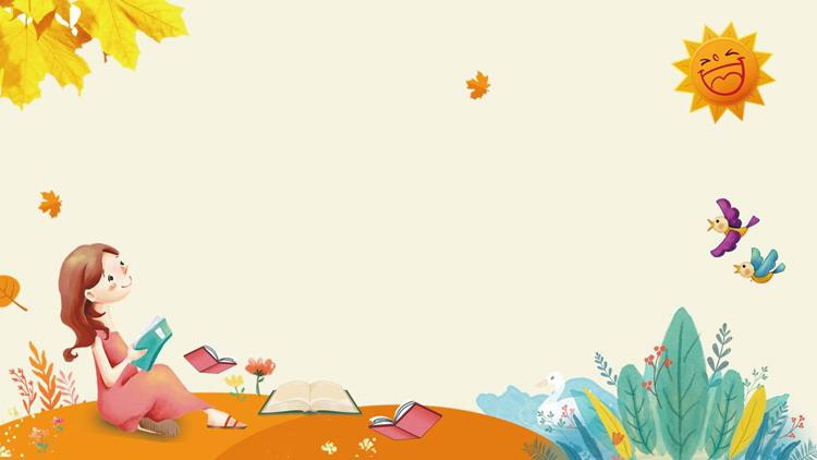 卡通小女孩读书PPT背景图片