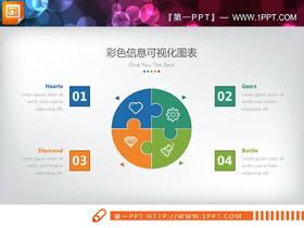 四�N配色的�A形并列�M合�P系PPT�D表