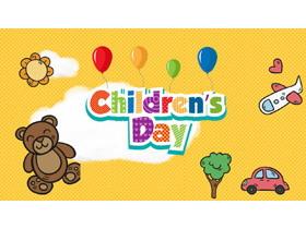 卡通小熊背景的Children's Day儿童节PPT模板