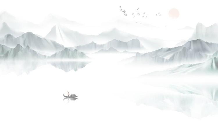 精美水墨山水PPT背景图片