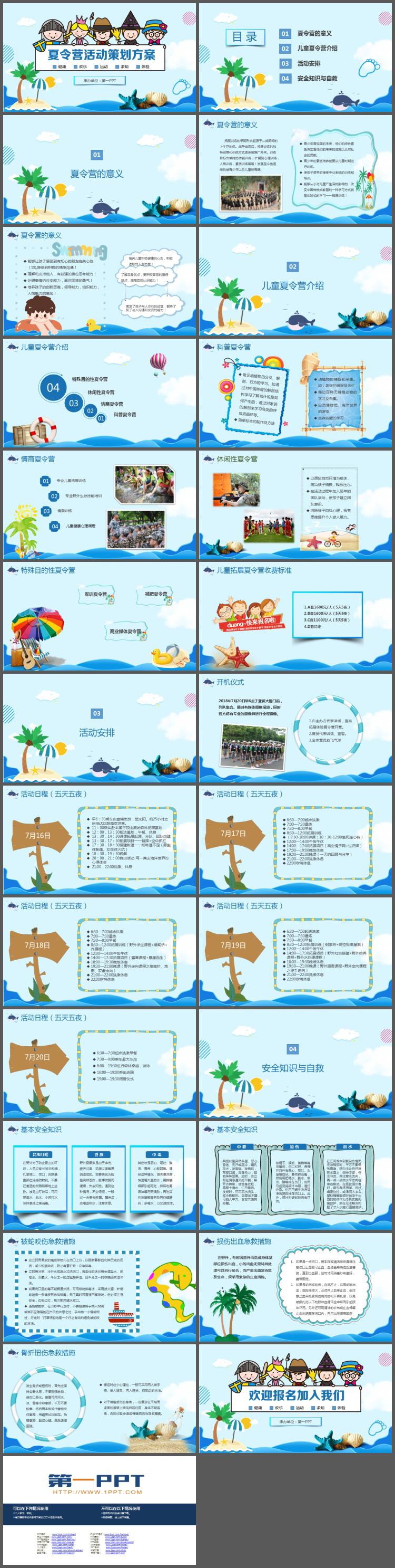 可爱卡通海洋风夏令营活动策划方案PPT模板