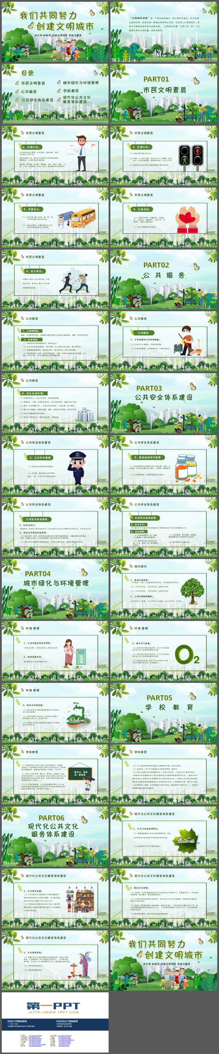 绿色清新我们共同努力创建文明城市PPT模板