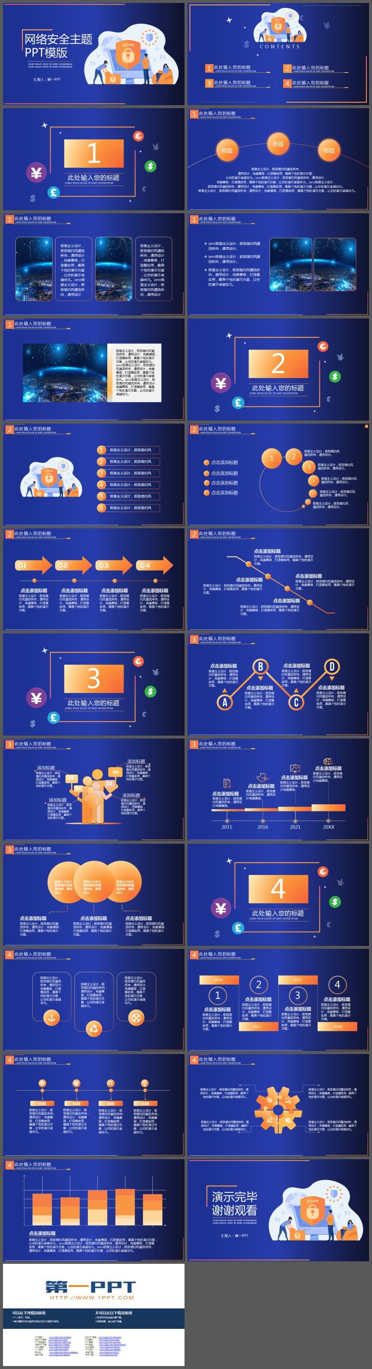 蓝橙扁平化网络安全主题PPT模板