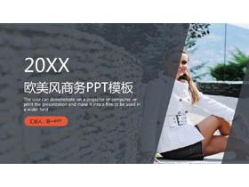 欧美人物背景的商务演示PPT模板免费下载