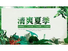 森林绿叶植物背景清爽夏季主题PPT模板