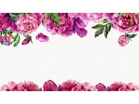 水彩牡丹花卉PPT背景�D片