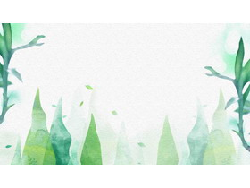 两张抽象绿色水彩植物PPT背景图片