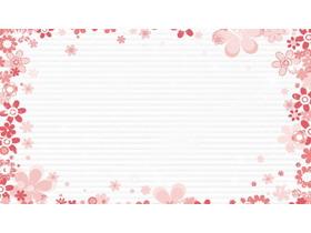 粉色卡通花朵PPT�框背景�D片