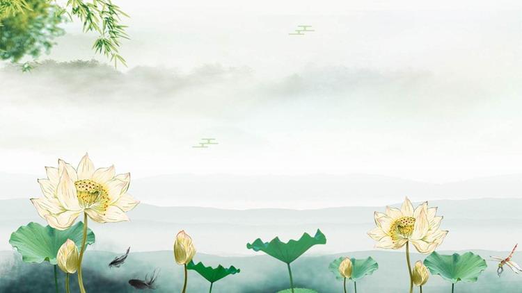 水墨荷花PPT背景图片