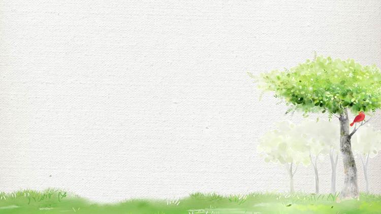 绿色清新水彩树木PPT背景图片