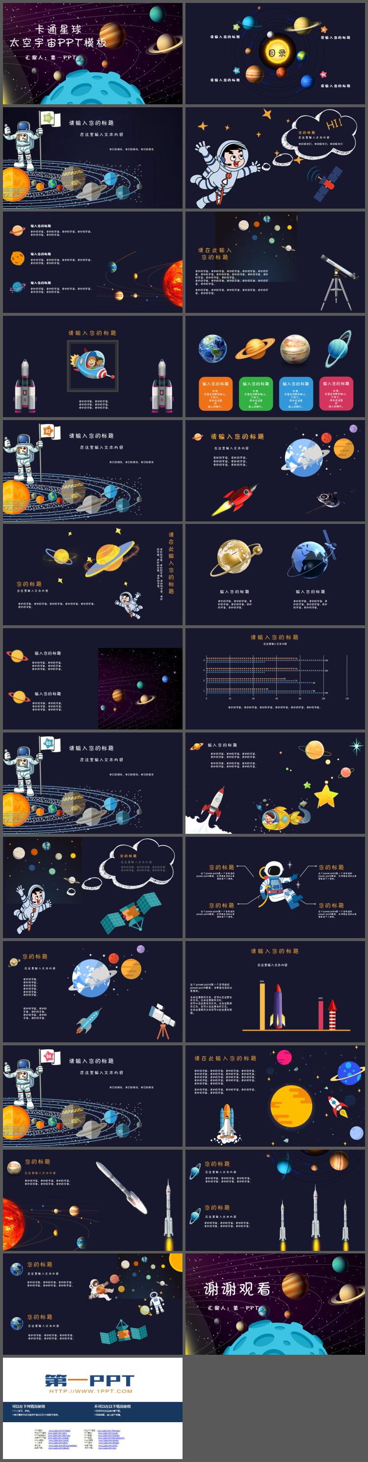 卡通宇宙星球背景的太空主题PPT模板