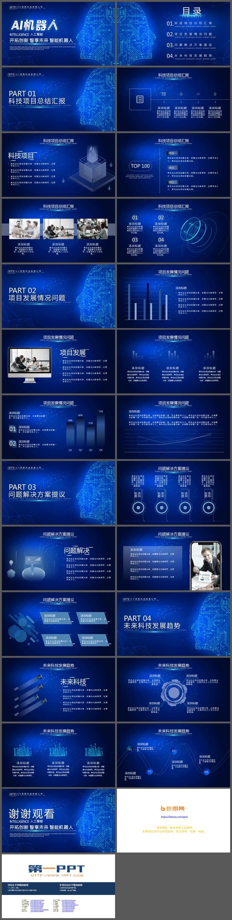 蓝色电路人脸背景的AI人工智能主题PPT模板