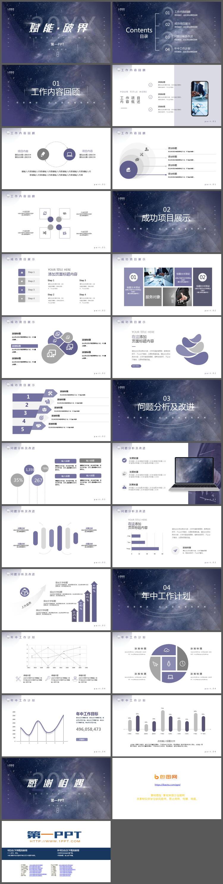 蓝紫星空背景的工作总结汇报PPT模板