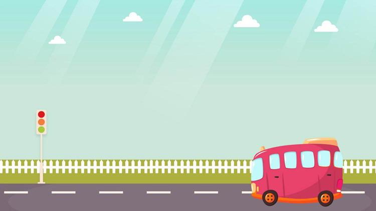 卡通栅栏与红色小汽车PPT背景图片