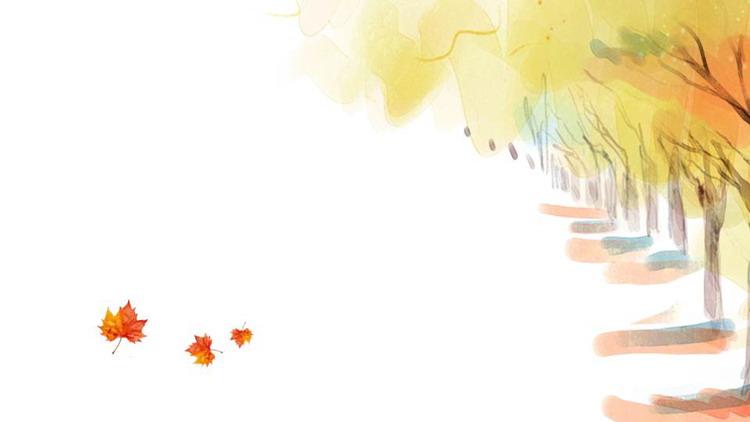 水彩秋天的树木与枫叶PPT背景图片