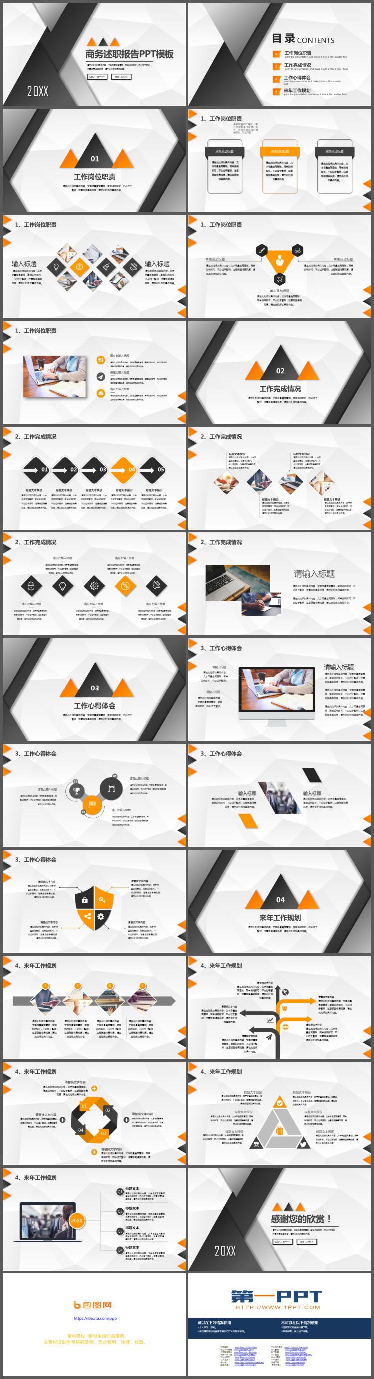 黑色三角形背景的商务述职报告PPT模板