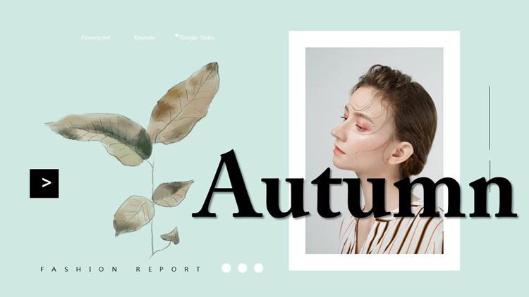 水彩叶子与时尚女性背景的欧美风PPT模板免费下载