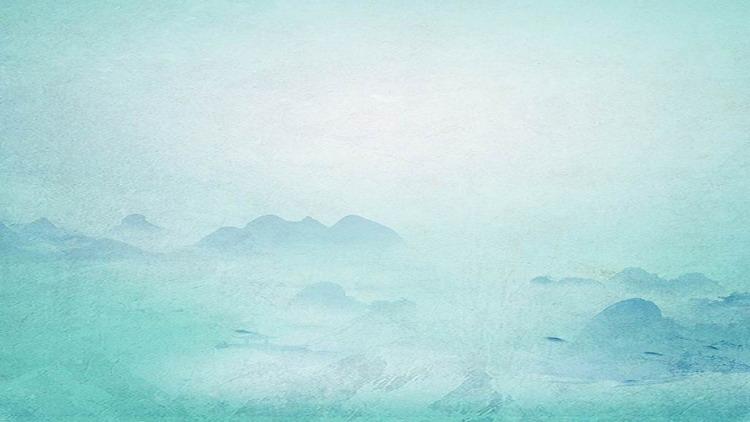 青色水墨群山仙鹤PPT背景图片