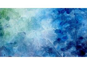 蓝绿水彩艺术渲染PowerPoint背景图片免费下载